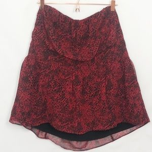 Lane Bryant Red Leopard Strapless Blouse Fantastic Preloved Condition 22